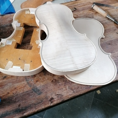 Serveral violins under construction